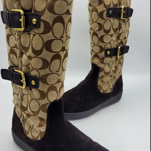 COACH Tinah Suede Jacquard Fleece Lined Boots 6.5